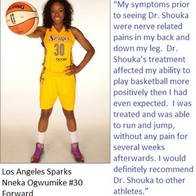 Nneka Ogwumike recognizes Dr. Shouka for his treatment.